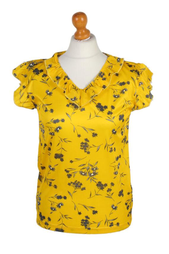 Vintage Basic Line Blouses Sleveeless L Yellow LB104-0