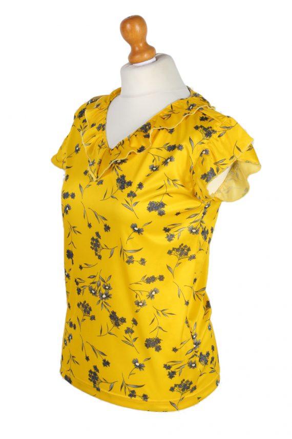 Vintage Basic Line Blouses Sleveeless L Yellow LB104-87711