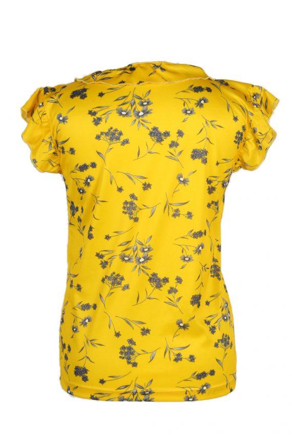 Vintage Basic Line Blouses Sleveeless L Yellow LB104-87712