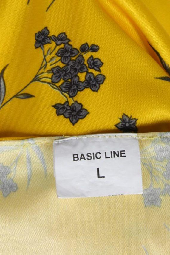 Vintage Basic Line Blouses Sleveeless L Yellow LB104-87713