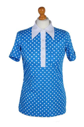 Women Blouse 70s Short Slevee Blue S