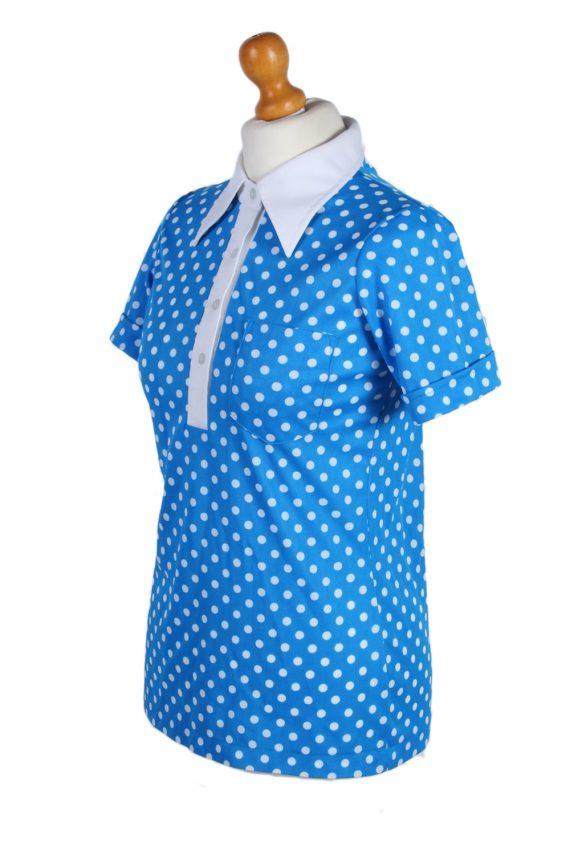 Vintage Exclusive Fashion Blouses Short Sleeve M Blue LB105-87715