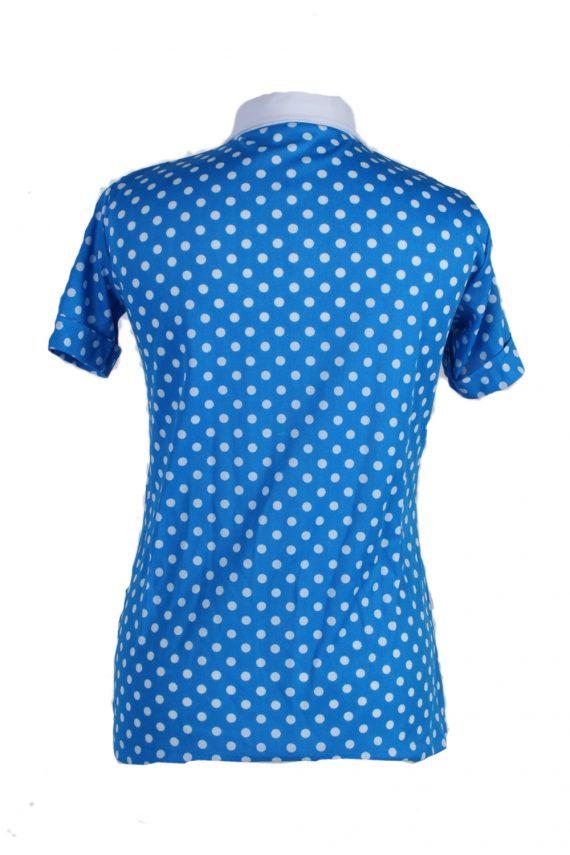 Vintage Exclusive Fashion Blouses Short Sleeve M Blue LB105-87716