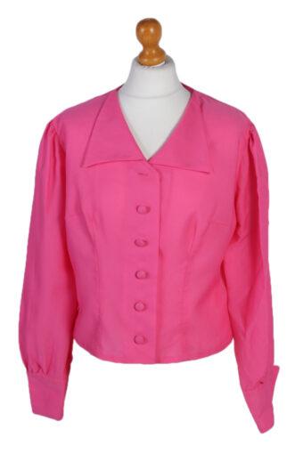 Women Blouse 80s Long Slevee Pink L