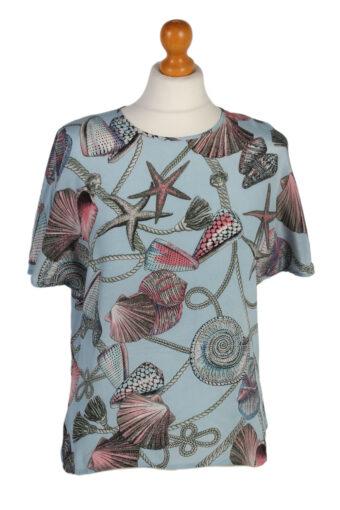 Women 90s Shirt Short Sleeve Turquoise M