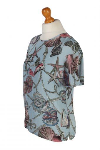 Vintage Ampezzo Blouses Short Sleeve XL Turquoise LB140-87855