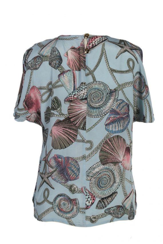 Vintage Ampezzo Blouses Short Sleeve XL Turquoise LB140-87856