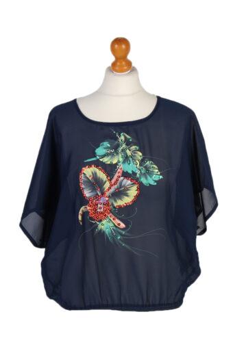 Women 90s Shirt Blouses Short Sleeve Navy Blue M