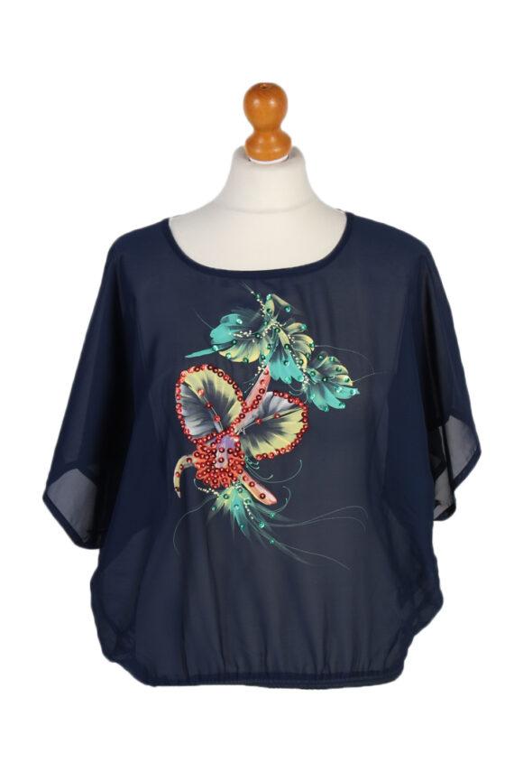 Vintage Unbranded Blouses Short Sleeve L/XL Navy LB150-0
