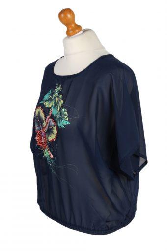 Vintage Unbranded Blouses Short Sleeve L/XL Navy LB150-87895