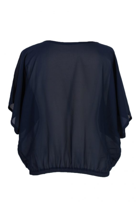 Vintage Unbranded Blouses Short Sleeve L/XL Navy LB150-87896