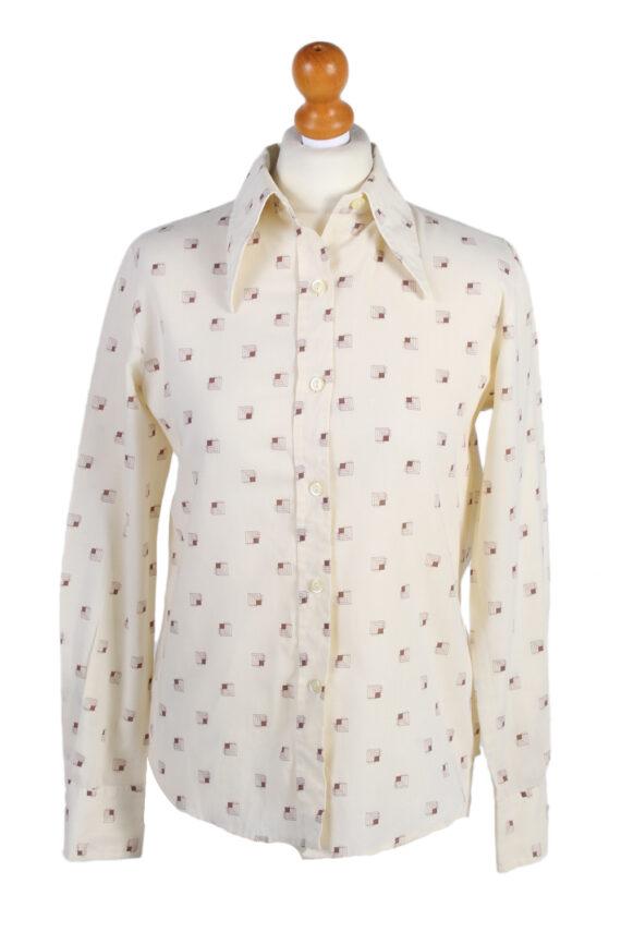 Vintage Fashion Women Shirt Long Sleeve M Cream LB169-0
