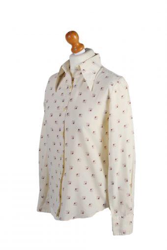 Vintage Fashion Women Shirt Long Sleeve M Cream LB169-88303