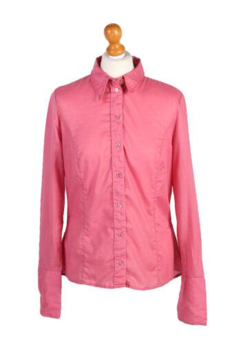 Women 90s Shirt Blouses Long Sleeve Pink L