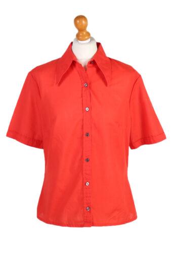 Women 90s Shirt Blouses Short Sleeve Red L