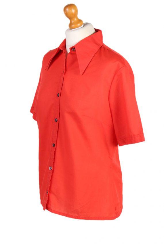 Vintage Diolen Cotton Shirt Short Sleeve M Red LB182-88351