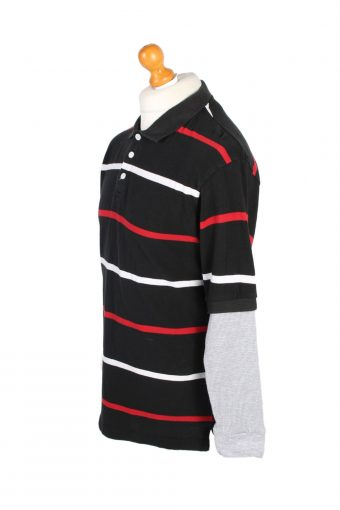 Vintage Road Block Rugby Sweatshirt Shirt Long Sleeve Tops L Black -PT1043-90546