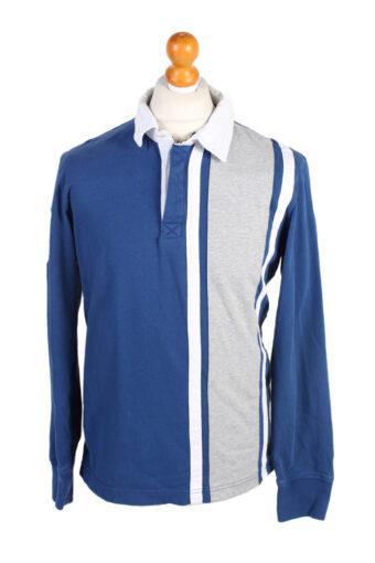 Polo Shirt 90s Retro Blue L