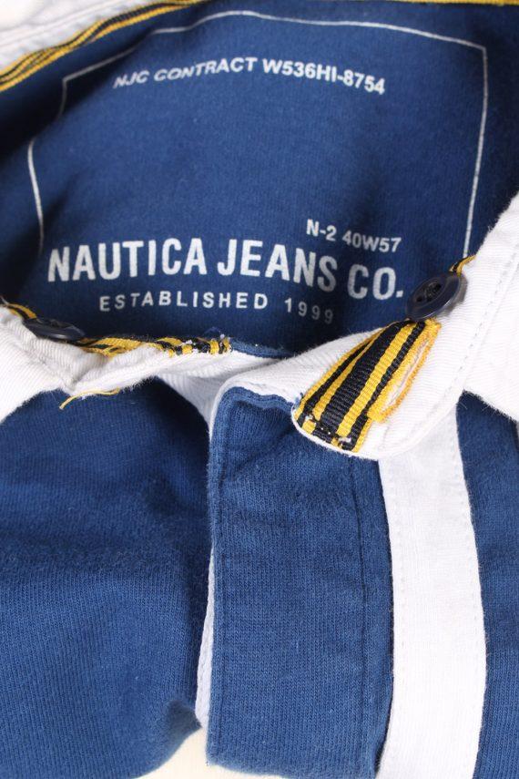 Vintage Nautica Jeans Co. Rugby Sweatshirt Shirt Long Sleeve Tops M Navy -PT1049-90572