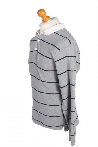 Vintage Old Navy Rugby Sweatshirt Shirt Long Sleeve Tops L Grey -PT1063-90626