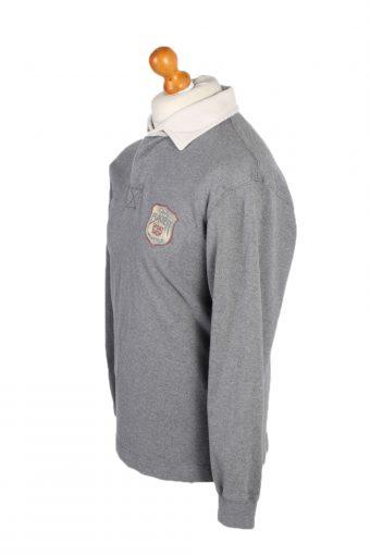 Vintage Eddic Bauer Rugby Sweatshirt Shirt Long Sleeve Tops M Grey -PT1067-90789