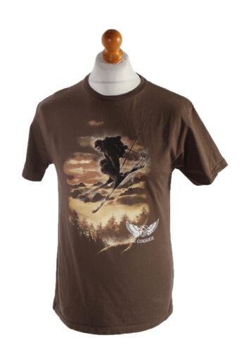 Men T-Shirt 90s Retro Shirt Brown M