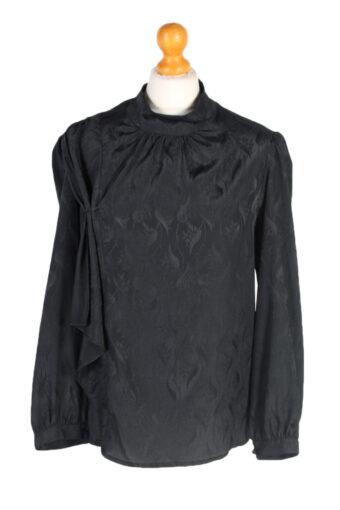 Women 90s Shirt Blouses Long Sleeve Black L