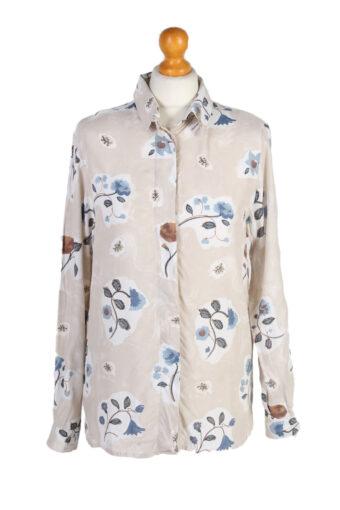 Women 90s Shirt Blouses Long Sleeve Cream M