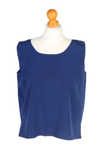 Women Blouse 80s Sleveeless Navy Blue L