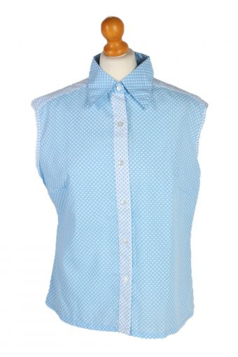 Women Blouse 80s Sleveeless Turquoise L