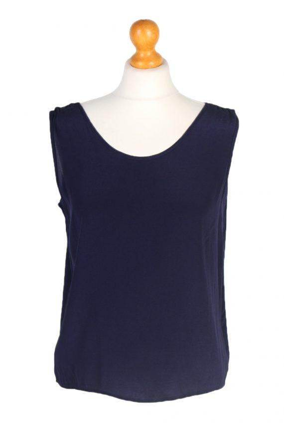Vintage Unbranded Blouses Sleeveless L Navy LB202-0