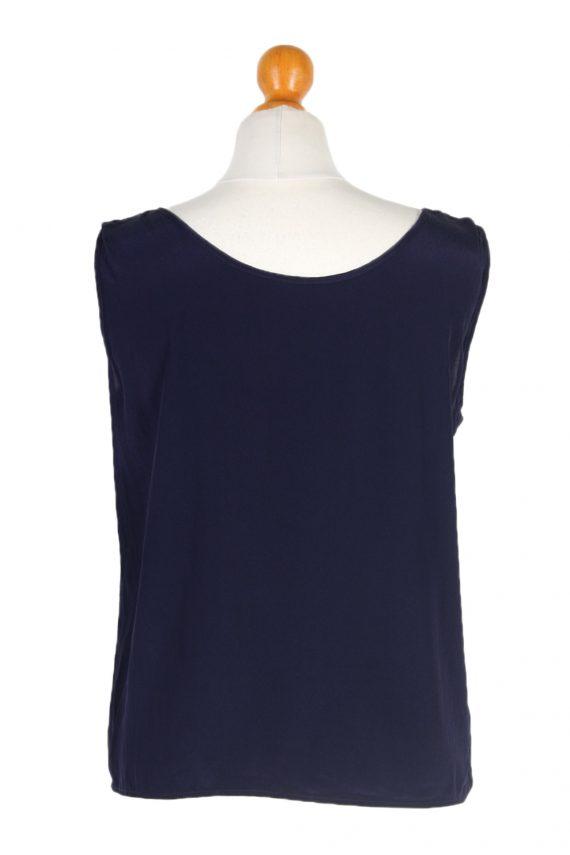 Vintage Unbranded Blouses Sleeveless L Navy LB202-95253