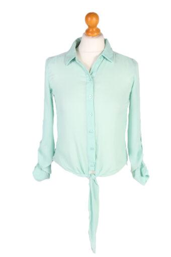 Women 90s Shirt Blouses Long Sleeve Green XS