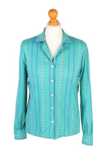Women 90s Shirt Blouses Long Sleeve Green M