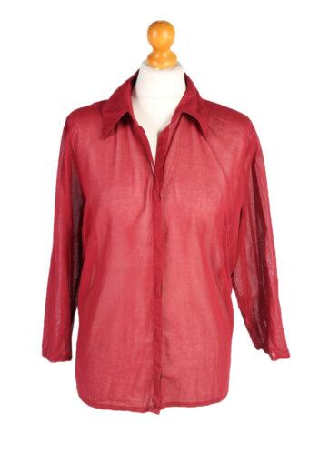 Women 90s Shirt Blouses Long Sleeve Red XL