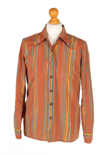 Women 90s Shirt Blouses Long Sleeve Brown XL
