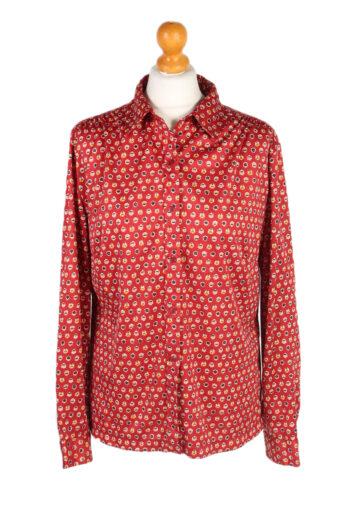 Women 90s Shirt Blouses Long Sleeve Red XXL
