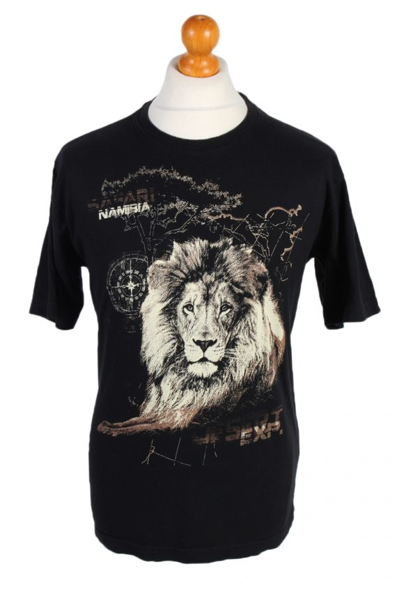 Vintage Atlas Remake Lion Printed Safari T-Shirt L Black TS241-0