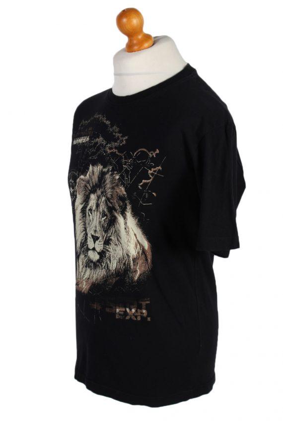 Vintage Atlas Remake Lion Printed Safari T-Shirt L Black TS241-91906