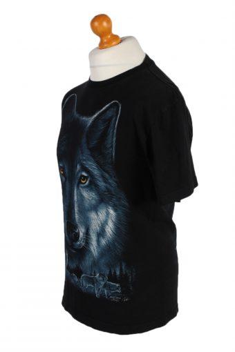 Vintage Rook Hang Remake Wolf Printed T-Shirt M Black TS247-91930