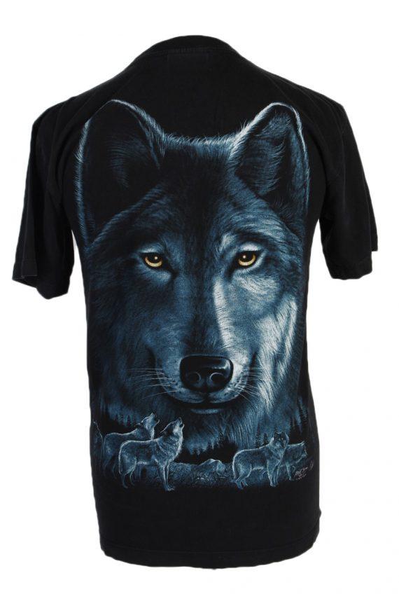 Vintage Rook Hang Remake Wolf Printed T-Shirt M Black TS247-91931