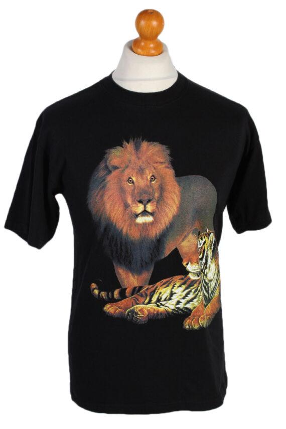 Vintage Gildan Remake Lion Tiger Printed T-Shirt M Black TS249-0