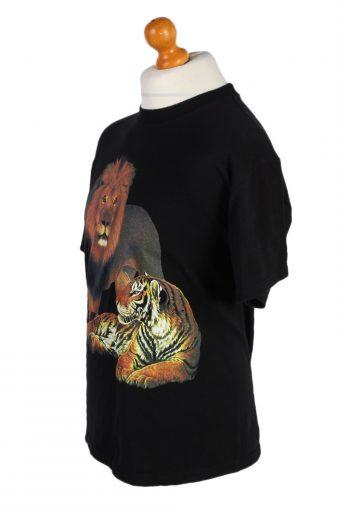Vintage Gildan Remake Lion Tiger Printed T-Shirt M Black TS249-91938