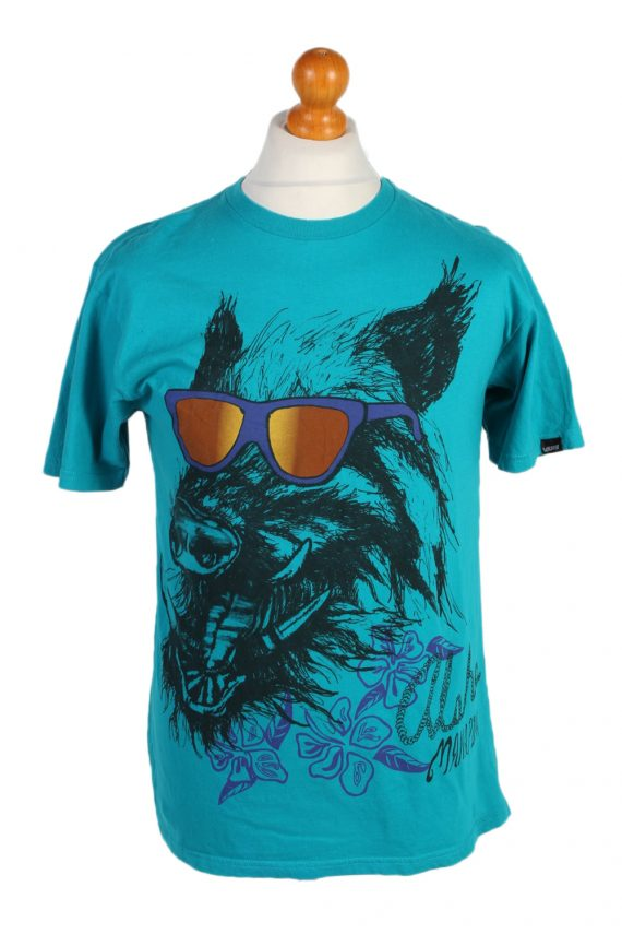 Vintage Off The Wall Remake Cool Dog Printed T-Shirt M Turquoise TS269-0