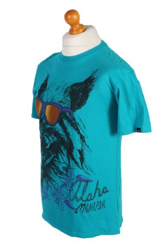 Vintage Off The Wall Remake Cool Dog Printed T-Shirt M Turquoise TS269-92280