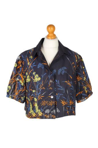 Women 90s Shirt Blouses Short Sleeve Navy Blue L