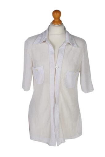 Women 90s Shirt Blouses Short Sleeve White L