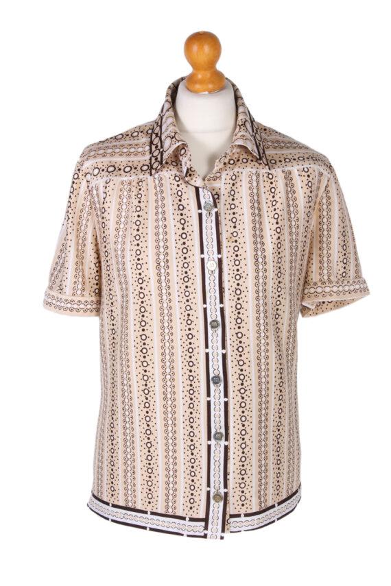 Vintage Lady Blouses Shirt Short Sleeve M Brown LB244-0