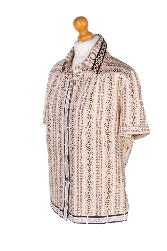 Vintage Lady Blouses Shirt Short Sleeve M Brown LB244-96796