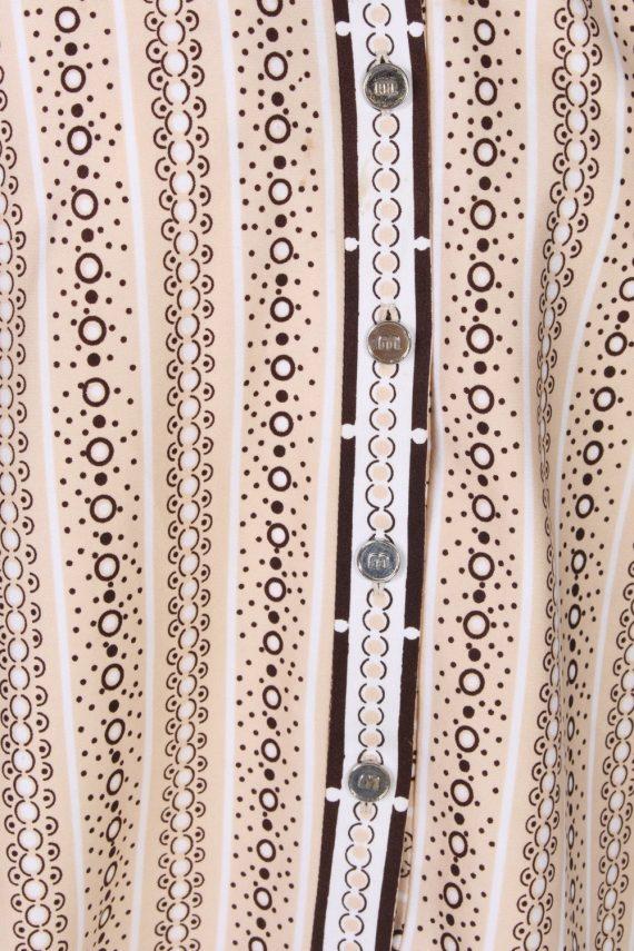 Vintage Lady Blouses Shirt Short Sleeve M Brown LB244-96798